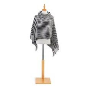 NWT Turtleneck Navy and Cream Striped Poncho